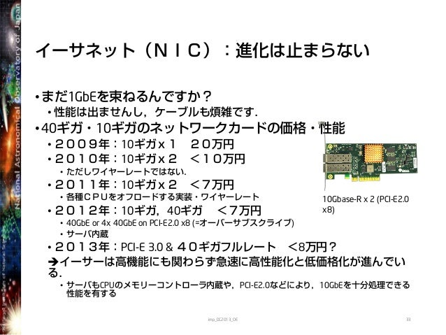 イーサネット(NIC):進化は止まらない•まだ1GbEを束ねるんですか?• 性能は出ませんし,ケーブルも煩雑です.•40ギガ・10ギガのネットワークカードの価格・性能• 2009年:10ギガx1 20万円• 2010年:10ギガx2 <10万円...