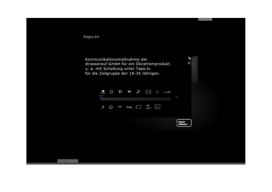 Kommunikationsmaßnahme derstrasserauf GmbH für ein Ökostromproduktu. a. mit Schaltung unter Tape.tvfür die Zielgruppe der ...