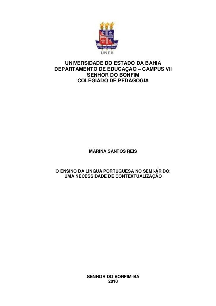 UNIVERSIDADE DO ESTADO DA BAHIADEPARTAMENTO DE EDUCAÇAO – CAMPUS VII          SENHOR DO BONFIM       COLEGIADO DE PEDAGOGI...
