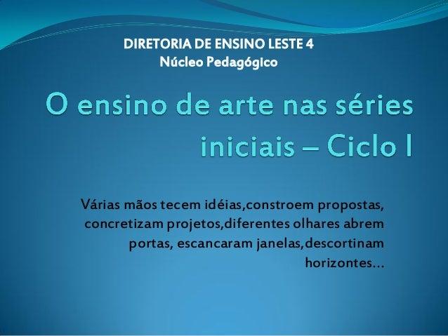 DIRETORIA DE ENSINO LESTE 4           Núcleo PedagógicoVárias mãos tecem idéias,constroem propostas,concretizam projetos,d...