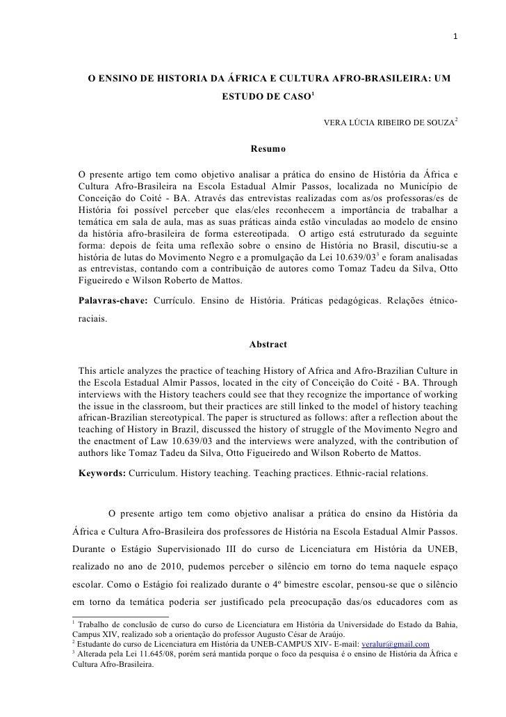 1      O ENSINO DE HISTORIA DA ÁFRICA E CULTURA AFRO-BRASILEIRA: UM                                          ESTUDO DE CAS...