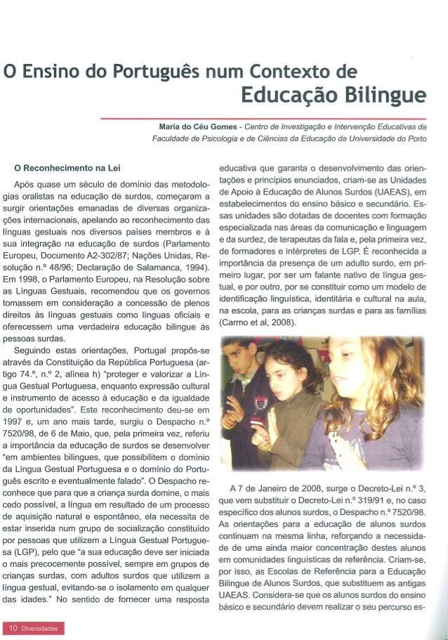O ensino do português num contexto de educação bilingue