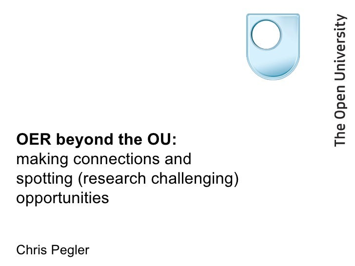 OER beyond the OU:  making connections and spotting (research challenging) opportunities   Chris Pegler
