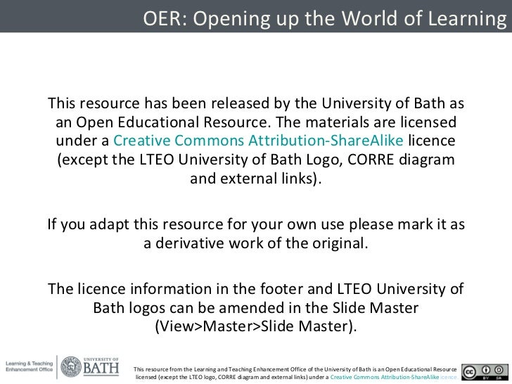 <ul><li>This resource has been released by the University of Bath as an Open Educational Resource. The materials are licen...