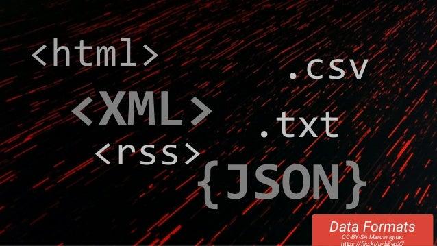 .txt Data Formats CC-BY-SA Marcin Ignac https://flic.kr/p/bZebX7 <rss> <XML> {JSON} .csv<html>