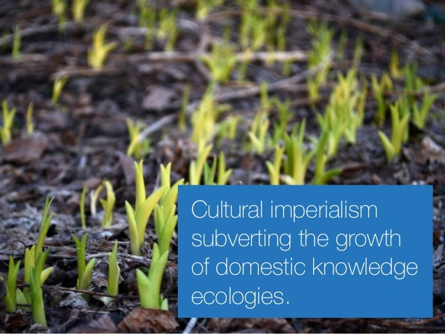 Cultural imperialism subverting the growth of domestic knowledge ecologies.