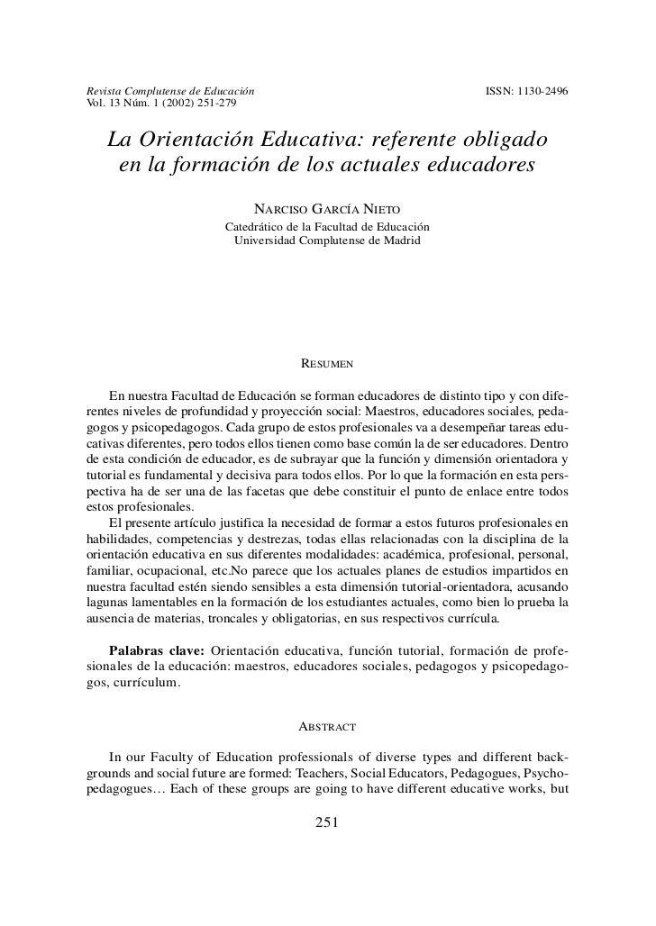 Revista Complutense de Educación                                          ISSN: 1130-2496Vol. 13 Núm. 1 (2002) 251-279   L...