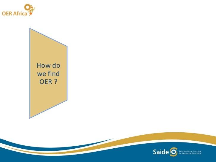How do we find OER ?