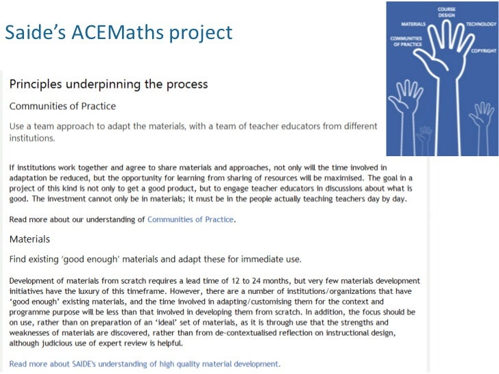Saide's ACEMaths project
