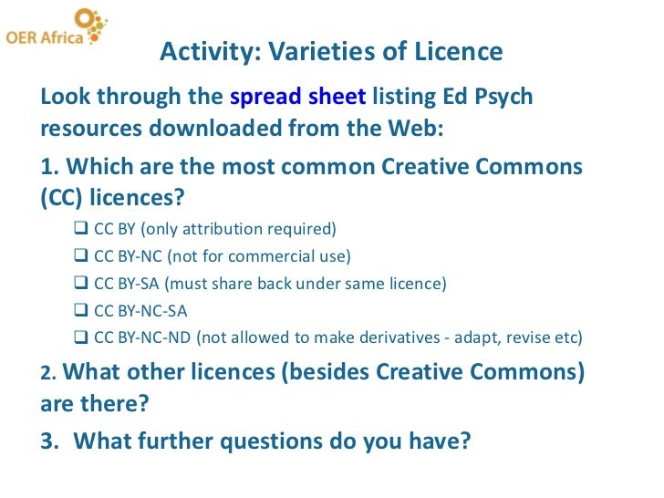 Activity: Varieties of Licence <ul><li>Look through the  spread sheet  listing Ed Psych resources downloaded from the Web:...