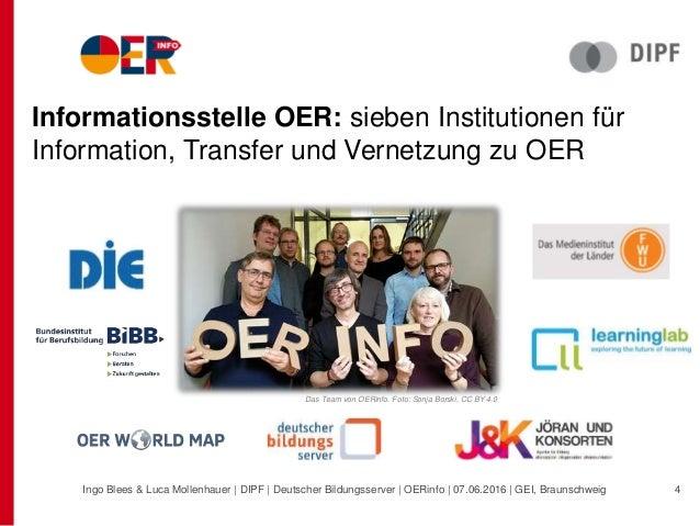 Informationsstelle OER: sieben Institutionen für Information, Transfer und Vernetzung zu OER Das Team von OERinfo. Foto: S...