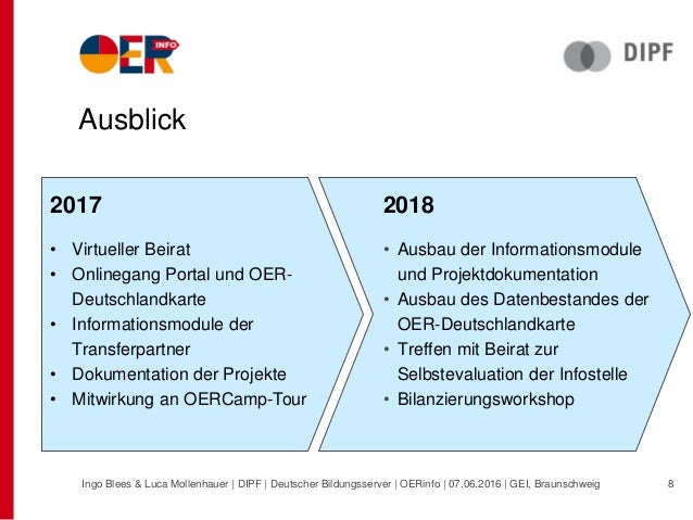 Ausblick 2017 • Virtueller Beirat • Onlinegang Portal und OER- Deutschlandkarte • Informationsmodule der Transferpartner •...