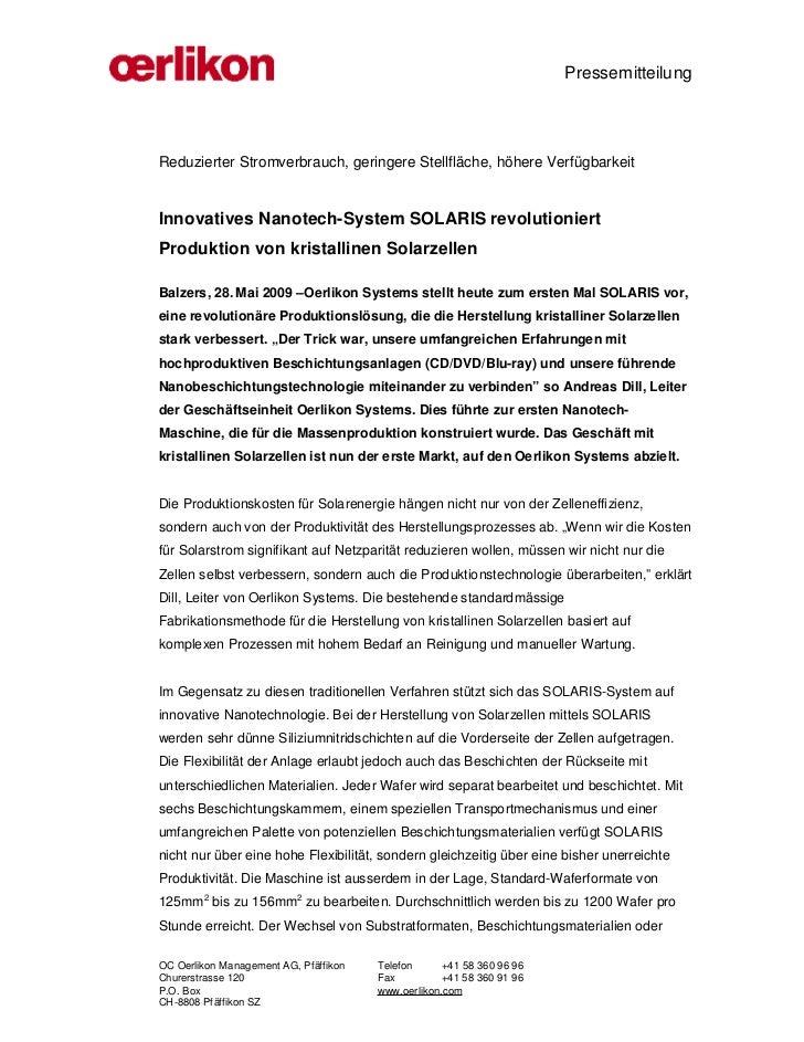 PressemitteilungReduzierter Stromverbrauch, geringere Stellfläche, höhere VerfügbarkeitInnovatives Nanotech-System SOLARIS...