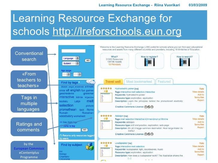 Learning Resource Exchange for schools  http://lreforschools.eun.org Learning Resource Exchange -  Riina Vuorikari 03/03/2...