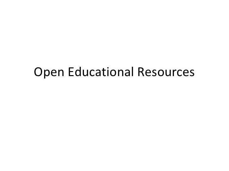 Open Educational Resources<br />