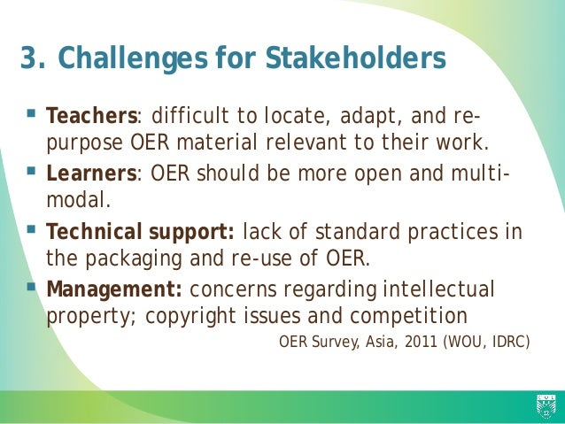 3. Challenges for Stakeholders  Teachers: difficult to locate, adapt, and re- purpose OER material relevant to their work...