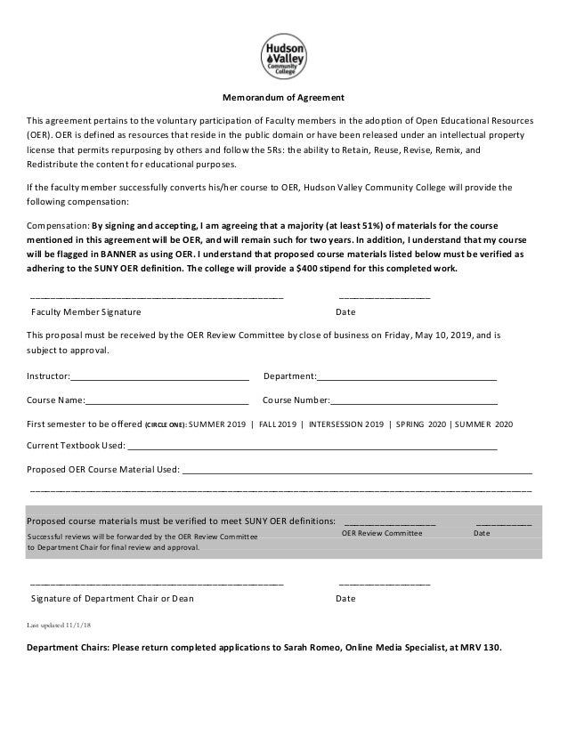 Oer Proposal Agreement Form 2018 11 01