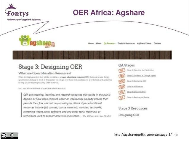 10  OER Africa: Agshare  http://agsharetoolkit.com/qa/stage-3/