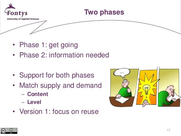 17  Two phases  • Phase 1: get going  • Phase 2: information needed  • Support for both phases  • Match supply and demand ...