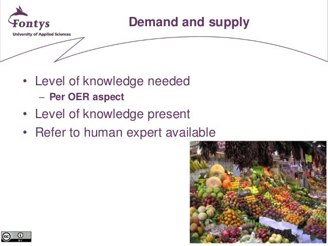 18  Demand and supply  • Level of knowledge needed  – Per OER aspect  • Level of knowledge present  • Refer to human exper...