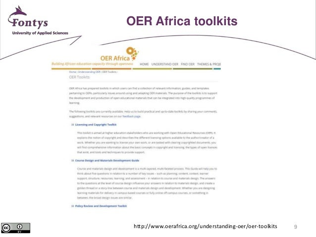 9  OER Africa toolkits  http://www.oerafrica.org/understanding-oer/oer-toolkits