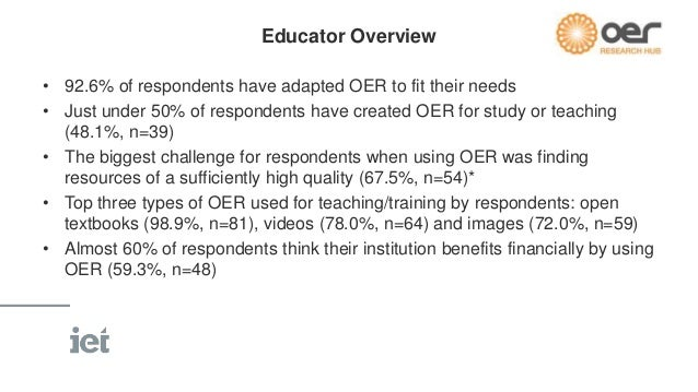 Educator Overview  • 34.6% of respondents first became aware of OpenStax College Textbooks  via an internet search (n=28)....