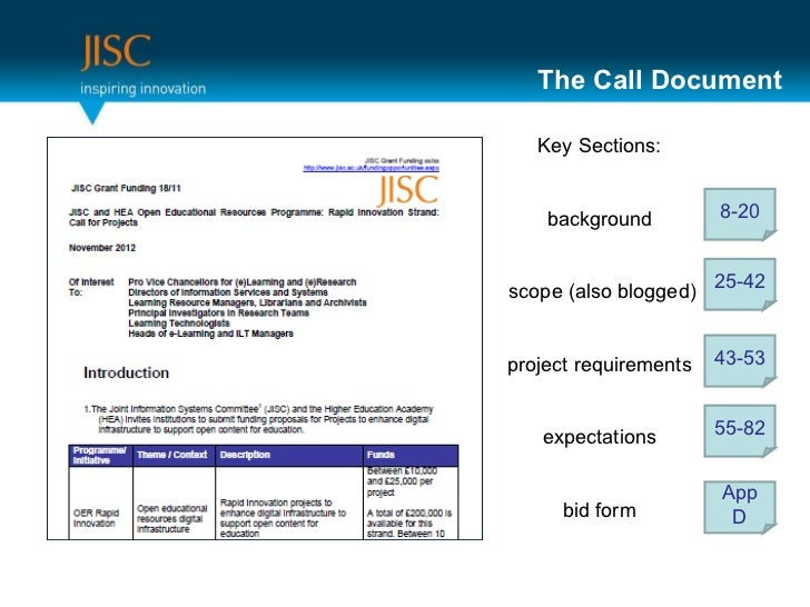 The Call Document 8-20 25-42 App D 43-53 55-82 Key Sections: background scope (also blogged) project requirements expectat...
