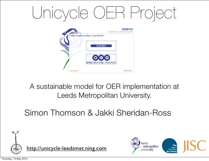 Unicycle OER Project                            A sustainable model for OER implementation at                             ...