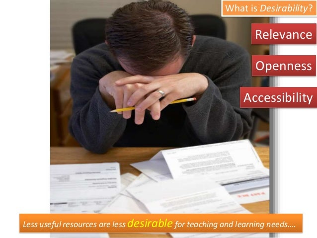 Less useful resources are less desirable for teaching and learning needs…. What is Desirability? Openness Accessibility Re...