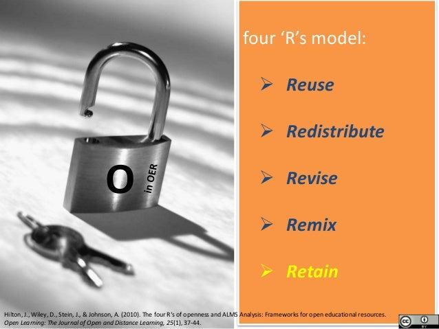 four 'R's model:  Reuse  Redistribute  Revise  Remix  Retain Hilton, J., Wiley, D., Stein, J., & Johnson, A. (2010). ...