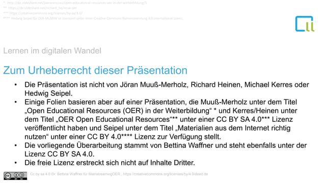 Lernen im digitalen Wandel 1 • Die Präsentation ist nicht von Jöran Muuß-Merholz, Richard Heinen, Michael Kerres oder Hedw...