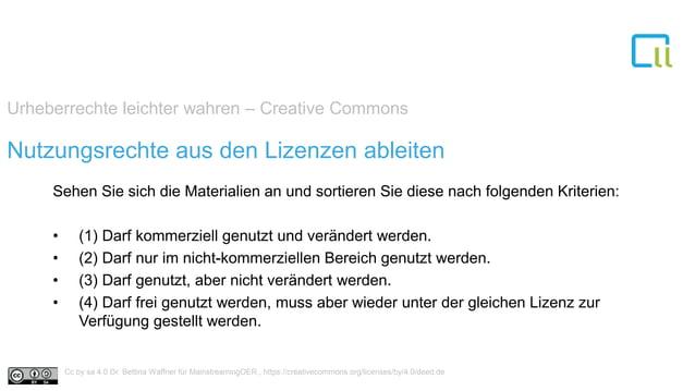 Urheberrechte leichter wahren – Creative Commons 1Nutzungsrechte aus den Lizenzen ableiten Sehen Sie sich die Materialien ...