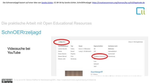 Die praktische Arbeit mit Open Educational Resources 1SchnOERrzeljagd Videosuche bei YouTube Cc by sa 4.0 Dr. Bettina Waff...