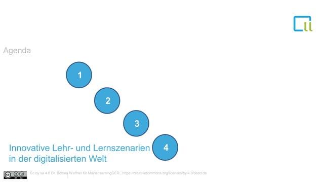 Innovative Lehr- und Lernszenarien in der digitalisierten Welt Agenda 1 1 1 2 1 3 1 4 Cc by sa 4.0 Dr. Bettina Waffner für...