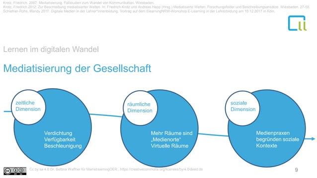 Lernen im digitalen Wandel Mediatisierung der Gesellschaft zeitliche Dimension räumliche Dimension soziale Dimension Verdi...