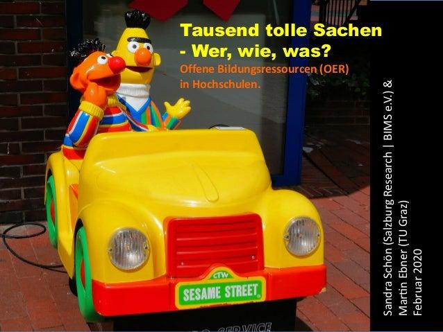 Sandra Schön & Martin Ebner Tausend tolle Sachen - Wer, wie, was? Offene Bildungsressourcen (OER) in Hochschulen. SandraSc...