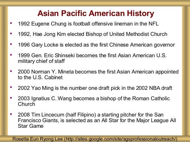 Asian Pacific American History Rosetta Eun Ryong Lee (http://sites.google.com/site/sgsprofessionaloutreach/)  1992 Eugene...