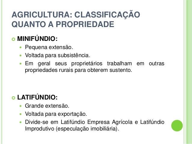 AGRICULTURA: CLASSIFICAÇÃOQUANTO A PROPRIEDADE MINIFÚNDIO: Pequena extensão. Voltada para subsistência. Em geral seus ...