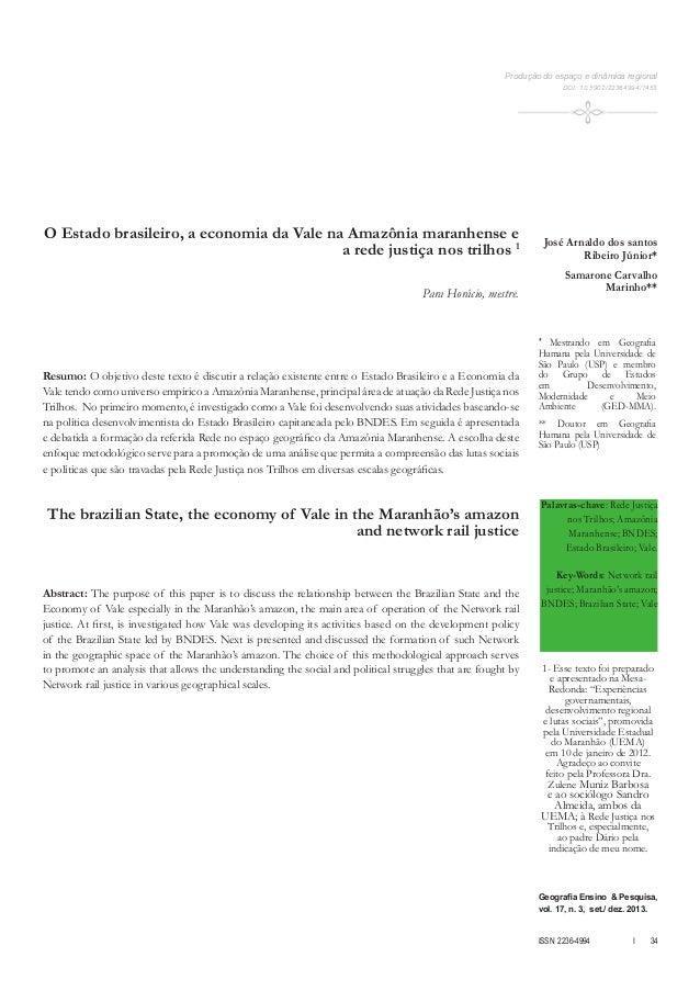 Geografia Ensino & Pesquisa,  vol. 17, n. 3, set./ dez. 2013.  ISSN 2236-4994 I 34  O Estado brasileiro, a economia da Val...