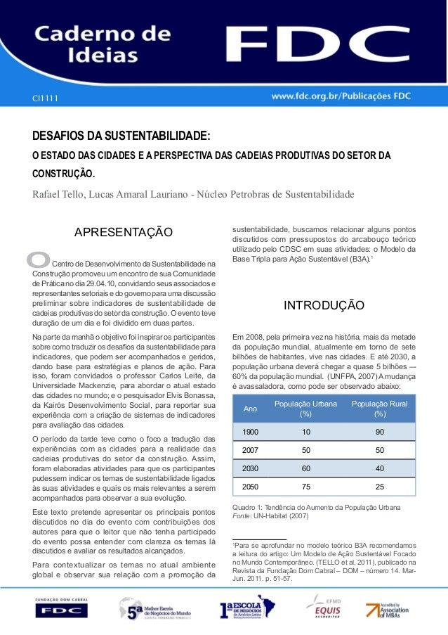 Gestão Estratégica do Suprimento e o Impacto no Desempenho das Empresas Brasileiras  CI1111  DESAFIOS DA SUSTENTABILIDADE:...