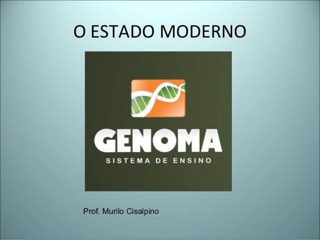 O ESTADO MODERNO Prof. Murilo Cisalpino