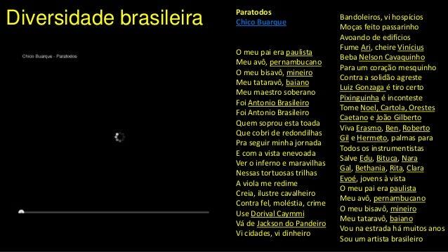 Diversidade brasileira Paratodos Chico Buarque O meu pai era paulista Meu avô, pernambucano O meu bisavô, mineiro Meu tata...
