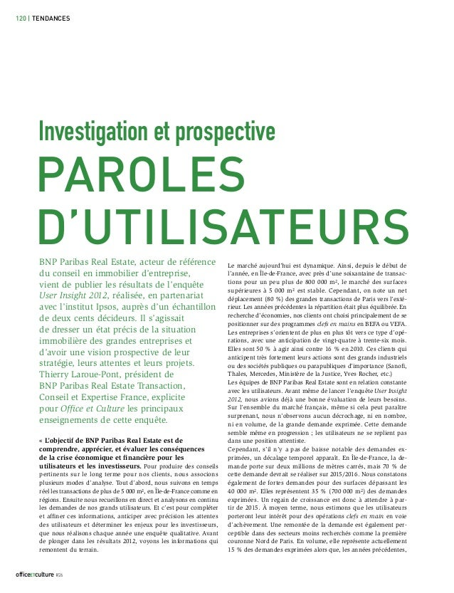 120 | TENDANCES         Investigation et prospective       PAROLES       D'UTILISATEURS         BNP Paribas Real Estate, a...