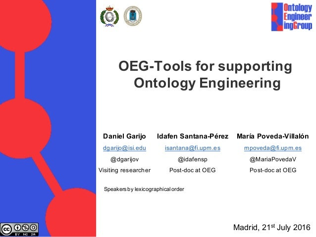 OEG-Tools for supporting Ontology Engineering Idafen Santana-Pérez isantana@fi.upm.es @idafensp Post-doc at OEG María Pove...