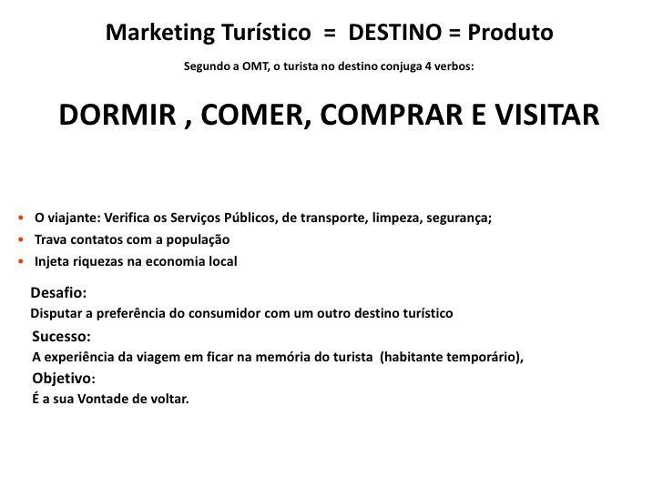 Marketing Turístico  =  DESTINO = Produto<br />Segundo a OMT, o turista no destino conjuga 4 verbos:<br />DORMIR , COMER, ...