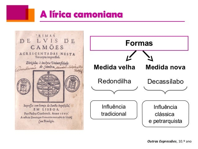 A lírica camoniana Outras Expressões, 10.º ano Formas Medida velha Redondilha Medida nova Decassílabo Influência tradicion...