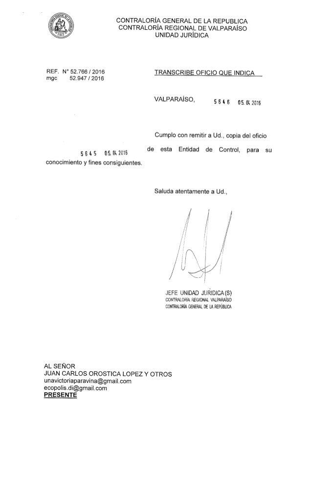 REF mgc N' 52.766 / 2016 52.947 t2016 CONTRALORíA GENERAL DE LA REPUBLICA CONTRALORíA REGIONAL DE VALPARAíSO UNIDAD JURiDI...