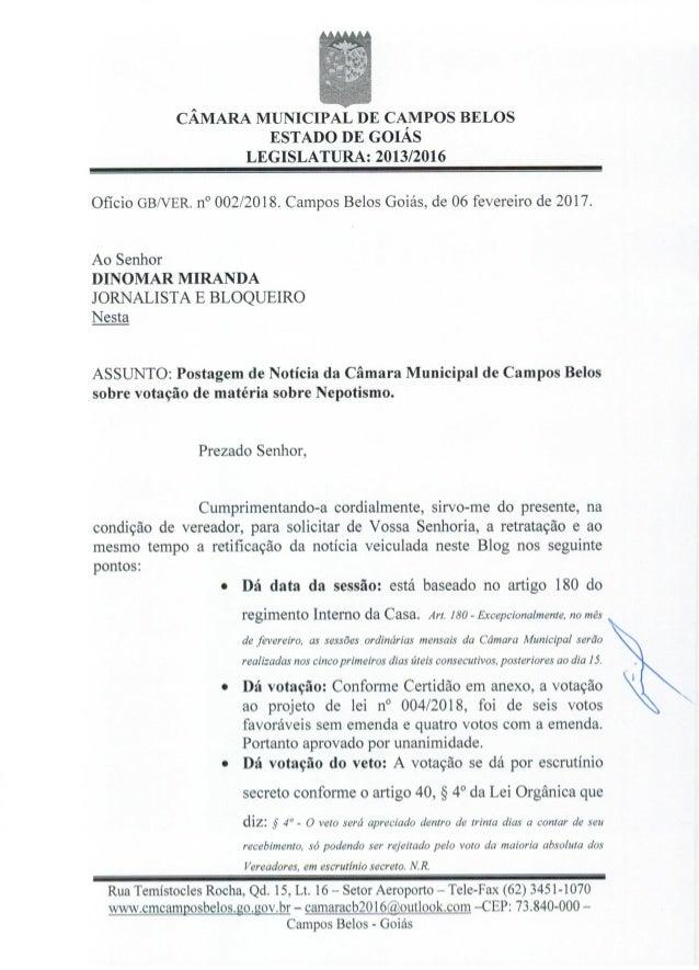 Pedido de Retratação: Ofício do Vereador Baiano ao Blog