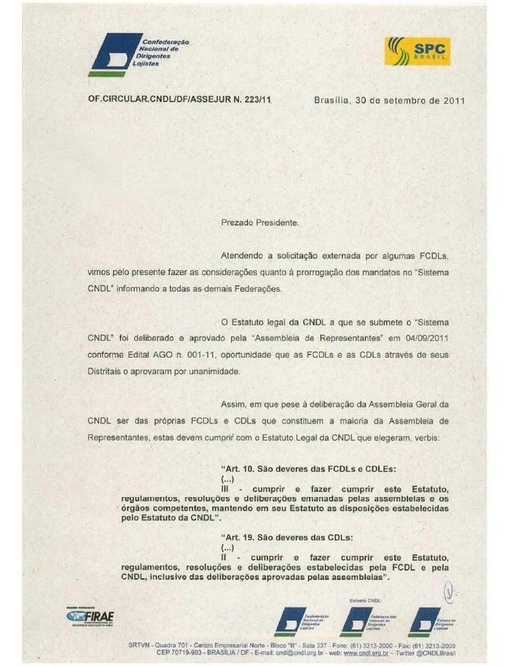 Ofício CNDL - CDL Vitória da Conquista