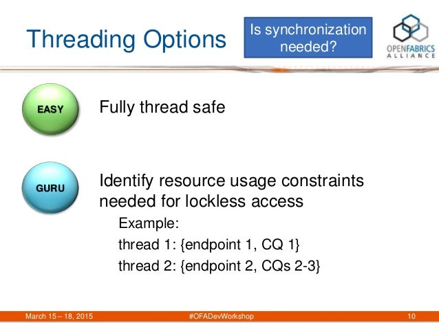 Threading Options Fully thread safe Identify resource usage constraints needed for lockless access Example: thread 1: {end...